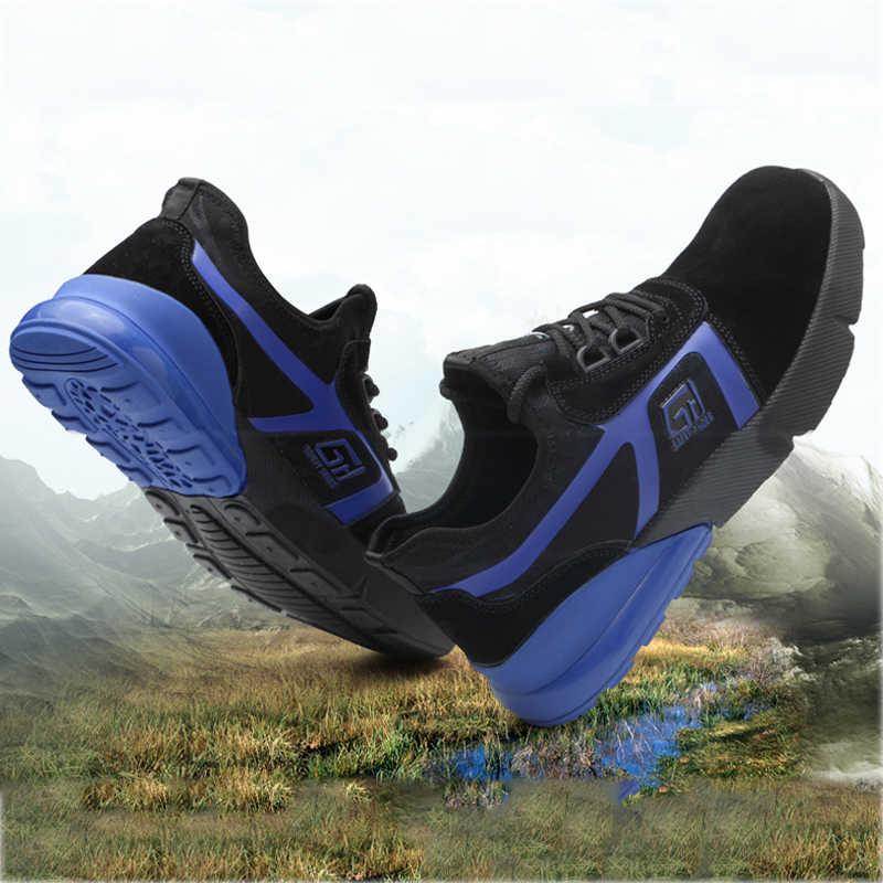 男性の冬の屋外鋼つま先安全靴メンズ抗スリップ建設ブーツ穿刺防水スチール作業靴