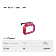 PGYTECH Mavic Mini MRC-UV ND фильтры для DJI Mavic Mini профессиональные защитные фильтры светильник, поглощающий поляризационный фильтр