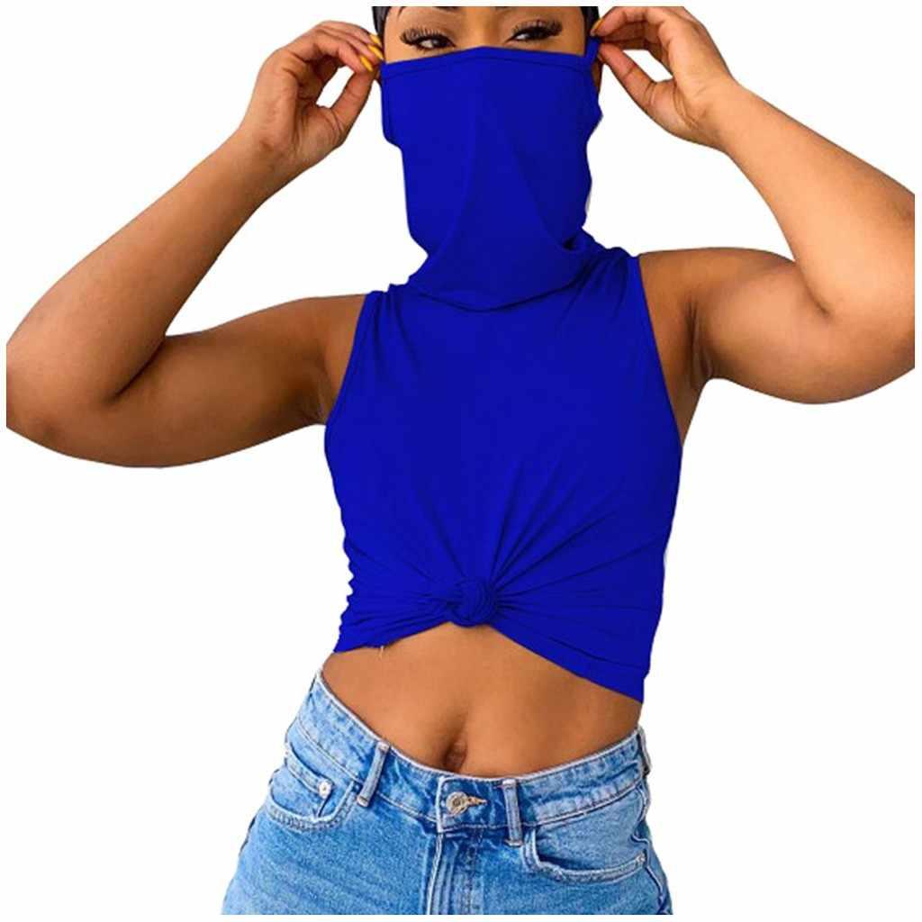 Femmes décontracté couleur unie sans manches gilet avec masque chemise de grande taille femme été recadrée pour 2020 nouveau Streetwear