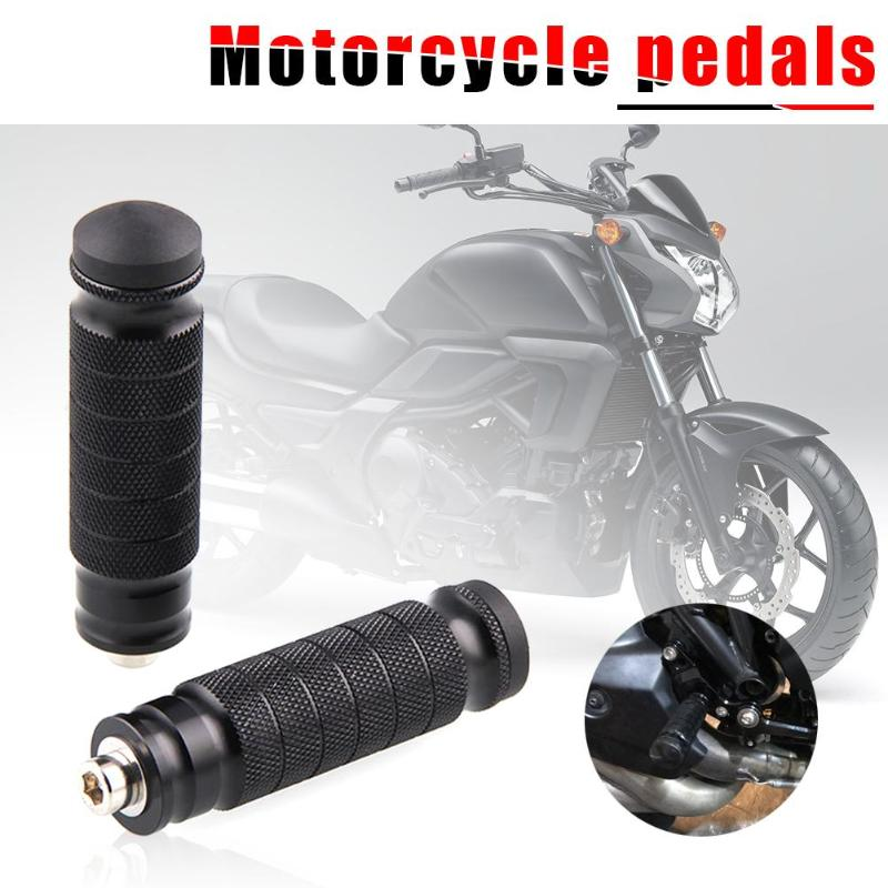 Universal 2x Aluminum Motorcycle Rear Footrests M8 Foot Pegs Pedals Motor Bike Parts For 8mm Diameter Holes 6063 Aluminum Newest