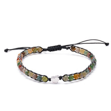 Fashion Beaded Handmade Natural Indian Colorful Agate Winding Bracelet Copper Peach Heart Beaded Woven Adjustable Bracelet