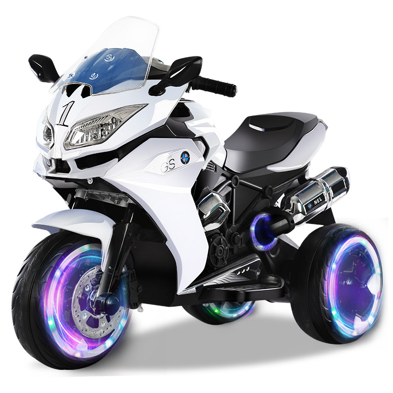 Fashion Child Double Electric Motorcycle 3-9 Years Kids Electric Flash Three-wheeled Baby Charging Toy Motocicleta Electrica