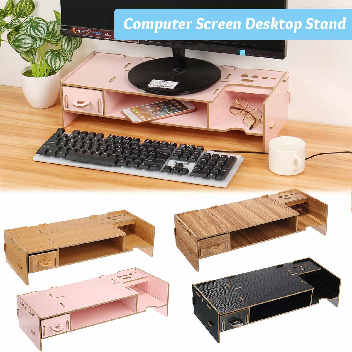 Computer Screen Riser Wood Shelf Plinth Strong Laptop Stand Multi-function Desktop Monitor Stand Desk Holder For Notebook TV