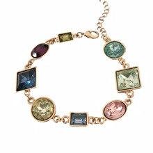 Красивый с покрытием золотого цвета цветной камень эффектный геометрический браслет для женщин вечерние юбилейные ювелирные изделия подарок на День Благодарения