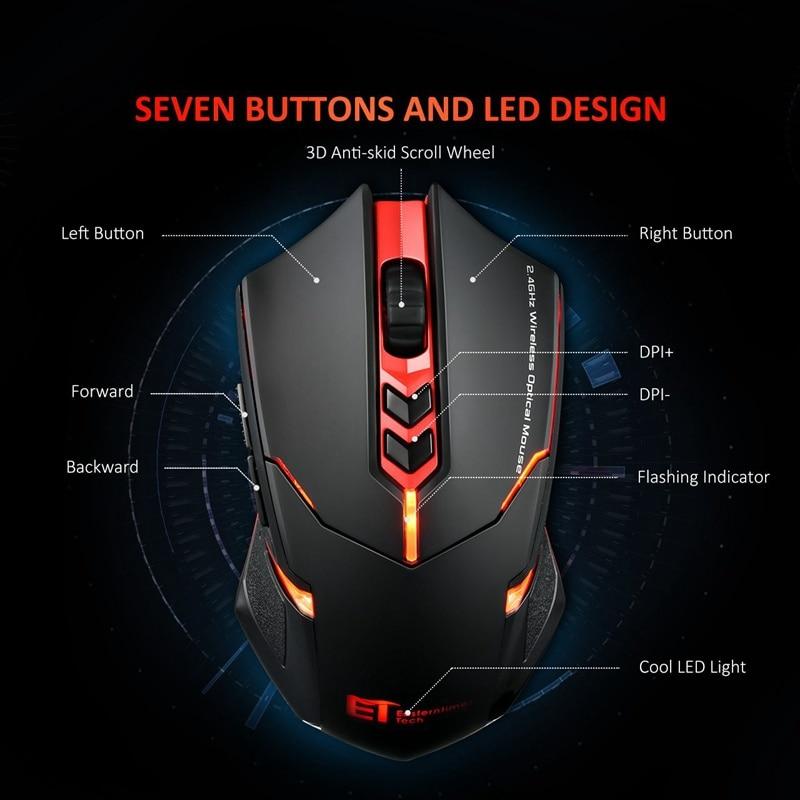 VicTsing Souris de jeu sans fil 2400 DPI Poignées ergonomiques 7 boutons Respiration rétro-éclairée Souris de jeu sans fil unique à clic silencieux (13)