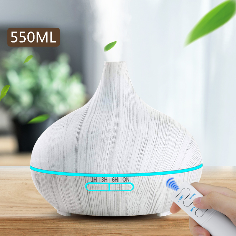 550ml Essential Oil  Diffuser Ultrasonic Air Humidifier With White Grain 7 Color Changing LED Lights  Cool Mist For Office Home