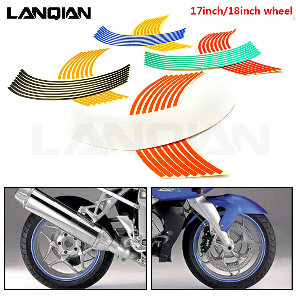 Motorcycle Strips Wheel Sticker Stripe Tape Accessory For <font><b>Yamaha</b></font> YZ WR TTR <font><b>XT</b></font> DT 80 85 125 230 250 426 450 <font><b>600</b></font> F FX X <font><b>Parts</b></font> image
