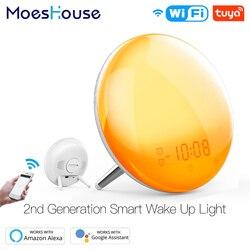 WiFi Intelligente Wake Up Light Giornata di Lavoro di Allarme Orologio con 7 Colori Alba/Tramonto Vita Intelligente Tuya APP Funziona con alexa Google Casa