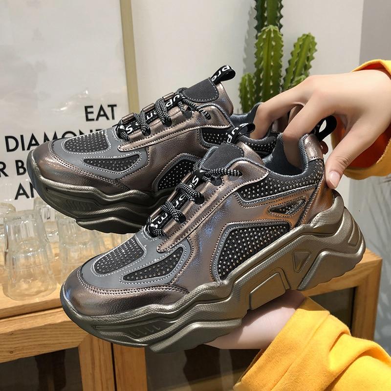 2019 Winter Women Platform Sneakers Casual Shoes Luxury Crystal Black Female Basket Sports Fashion Vulcanized Shoes Woman