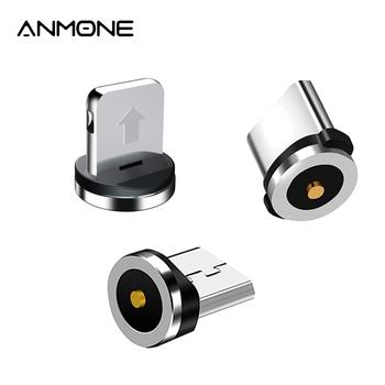 Magnetyczna wtyczka 2 Pin magnetyczny przewód ładujący Adapter Micro USB typu C magnes magnetyczne złącze telefonu komórkowego wtyczki przeciwpyłowe tanie i dobre opinie ANMONE LIGHTNING TYPE-C 2 4A CN (pochodzenie) Metal
