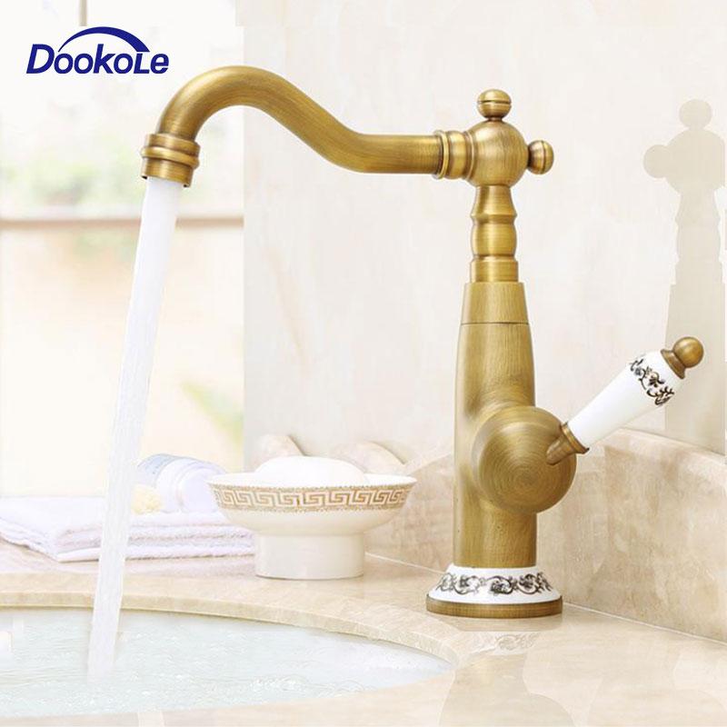 Support de pont de robinet de lavabo pivotant Vintage de salle de bains, mitigeur monotrou mitigeur robinet d'évier de navire en laiton Antique