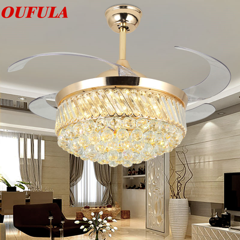 Oufula Modern Ceiling Fan Lights Lamps Remote Control Invisible Fan Blade For Dining Room Bedroom Restaurant Clearance Price