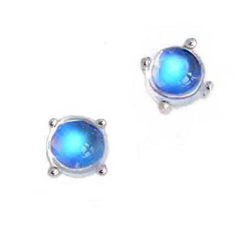 Fashion Round Moon Stone Gem  Jewelry Earrings