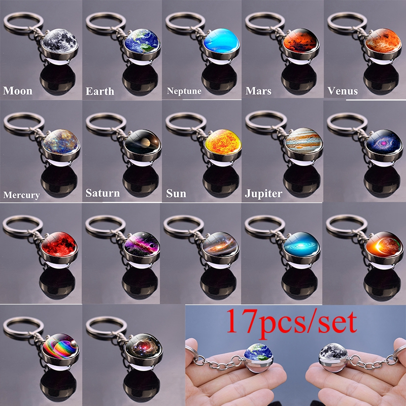 17Pcs/set Solar System Set Planet Keyring Galaxy Nebula Star Keychain Moon Earth Picture Double Side Glass Ball Key Chain