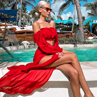 Women Mesh Sheer Bikini Cover-ups Set See-through Long Sleeve Crop Tops and Cover Up Skirts Two Piece Swimwear Beach Dresses 2