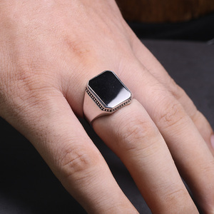 Image 4 - Real Solid 925 Sterling Silver Ring Simple For Men With Black Square Flat Gel Stone High Polishing Middle East Turkish Jewelry