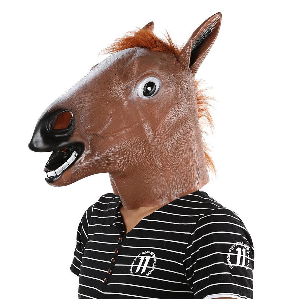 Full Head Mask Horse Head Mask Fur Mane Latex Realistic Crazy Rubber Super Creepy Party Halloween Costume Animal Mask