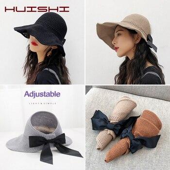 цена на HUISHI Women's Summer Hat Foldable Open Top Straw Sun Hat For Women Bowknot Back Adjustable Wide Brim Beach Visor Cap Khaki Blue