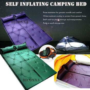 2019 Self Inflating Camping Roll Mat Pad Sleeping Bed Polyester Outdoor Automatic Inflatable Pillow Air Mattress trackman double camping mat automatic inflatable mattress with pillow large size sleeping pad beach hiking travel mats
