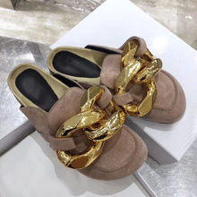 Shoes Flat-Mules Lazy-Loafers Casual Slippers Gold Outdoor Genuine-Leather Chain 44 Round-Toe