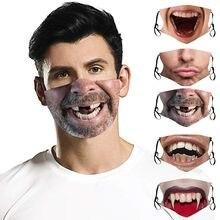 Masculino feminino 3d impressão engraçada impressa poluição respingos rosto 1pc máscaras escudo mascarillas reutilizables máscara boca moda