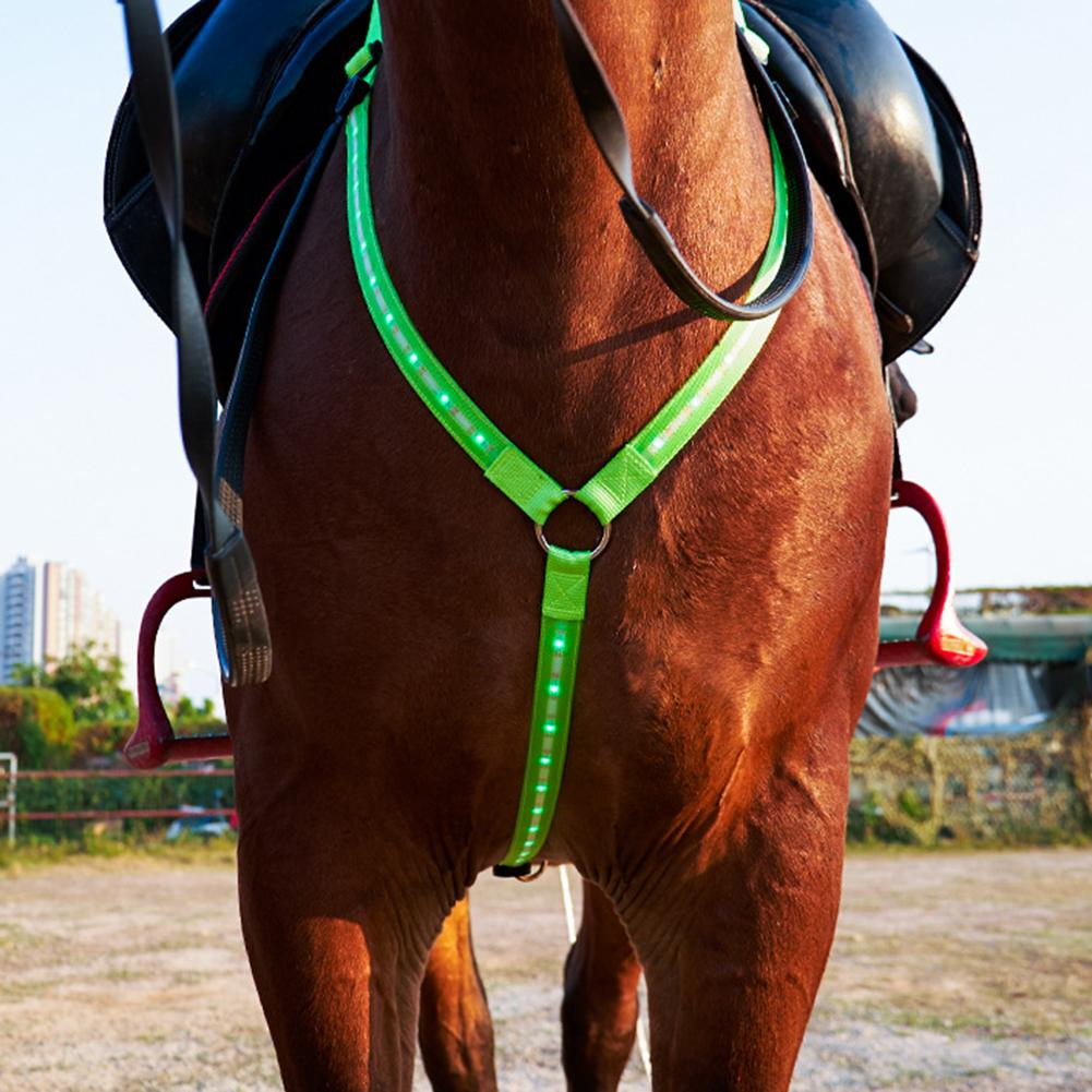 Adjustable LED Horse Breastplate Collar USB Rechargeable Best High Visibility Tack For Horseback Riding Equestrian Safety Gear