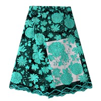 Teal Green Tulle Lace Fabric With Rhinestones African Lace Wedding Garment Dress 2019 New Arrival Lace Fabric