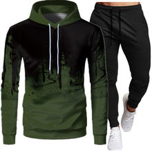 2021 new3d spring, autumn and winter new men's two-piece sportswear hoodie top + outdoor sports pants sports suit