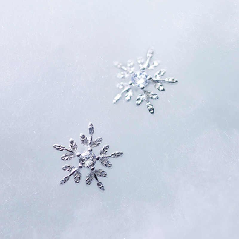 PONYKISS Real 925 Sterling Silver Zircon ต่างหูสตั๊ดเกล็ดหิมะผู้หญิงเทศกาลโรแมนติกอุปกรณ์เสริมสาวน่ารักของขวัญ