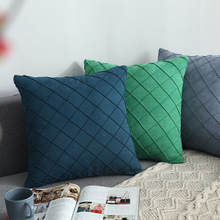 Modern Simple Nordic Pillow Cover Suede Checker Cushion Decorative Pillows case For Seat  Home