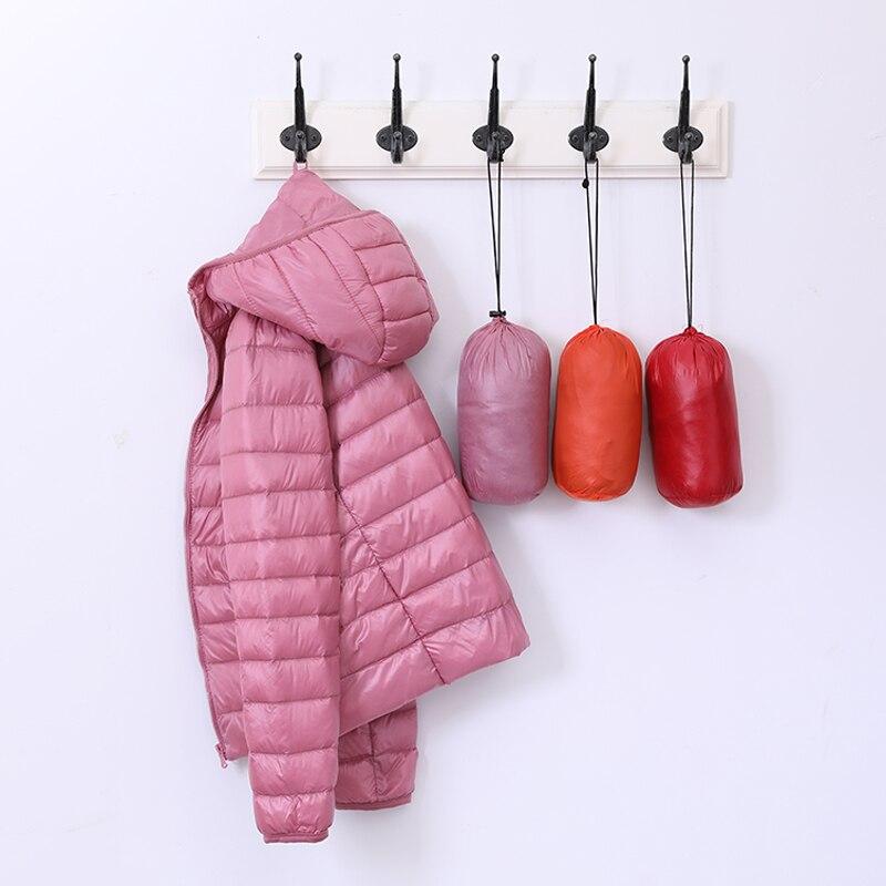 Зимний женский сверхлегкий тонкий пуховик, белый утиный пух, куртки с капюшоном, теплое пальто с длинным рукавом, парка, Женская портативная...
