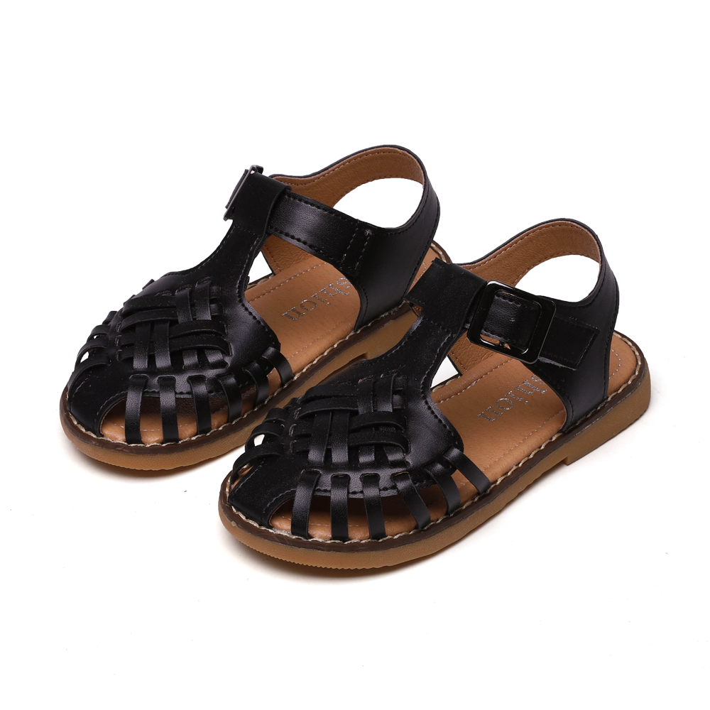 Summer New Girls Sandals Knitted Cut-Outs Flat Sandals Children Beach Shoes Rome Style Comfortable Soft Leather SZ204