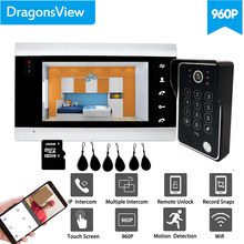 【Wifi Rfid Ahd 960P 】Dragonsview 7 Inch Draadloze Wifi Video Deurtelefoon Rfid Wachtwoord Ip Video Intercom Unlock Dag nacht Ir Leds(China)