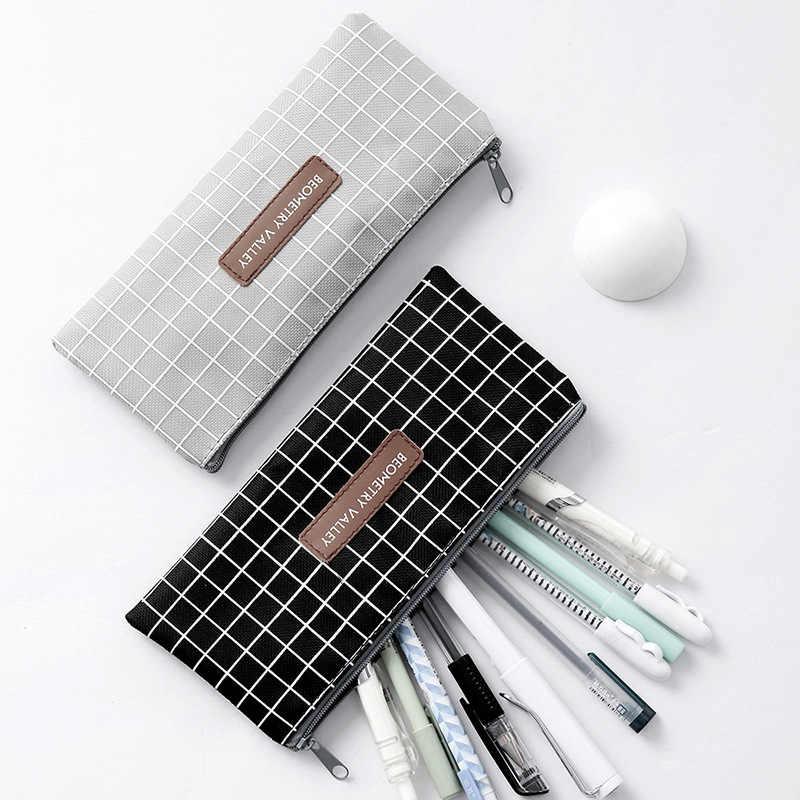 Tuval kalem kutusu okul sevimli basit çizgili ızgara kalem kutusu kalem çantası kutusu kırtasiye çantası okul malzemeleri