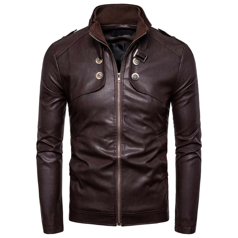 Autumn Men's Fashion Motorcycle Leather Jacket Slim Coat  Casual Zip Brown Black