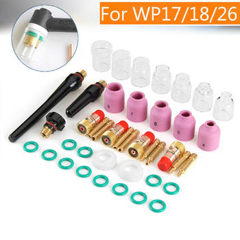 TIG Gas Lens Pyrex Cup Cover Electrodes Consumables Kit For WP-17/18/26 Welding