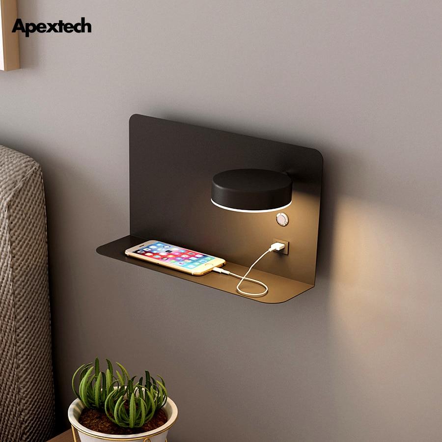 البراغماتية وحدة إضاءة LED جداريّة مصباح السرير الجرف USB شاحن الهاتف الحديثة نوم القراءة ضوء فندق الجدار أضواء 3 اللون للتحويل