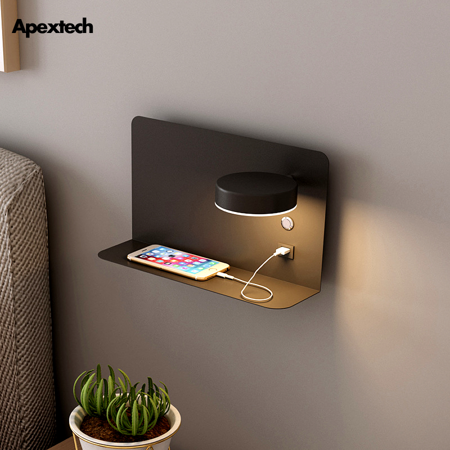 Pragmatism LED Wall Lamp Bedside Shelf USB Phone Charger Modern Bedroom Reading Light Hotel Wall Lights 3Color Switchable