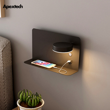 Lámpara de pared LED pragmatismo, estante para cama, cargador de teléfono USB, luz de lectura moderna para dormitorio, luces de pared del hotel, 3 colores conmutables