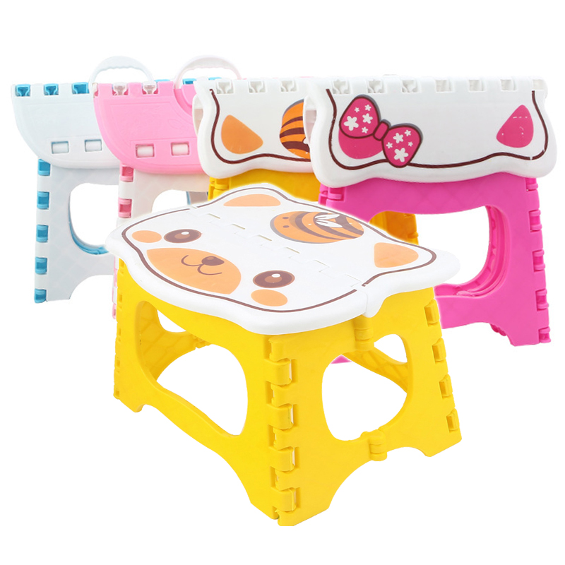 Cartoon Plastic Small Bench Portable Handle Small Stool Folding Small Bench For Home And Outdoor Fishing Camping Small Seat