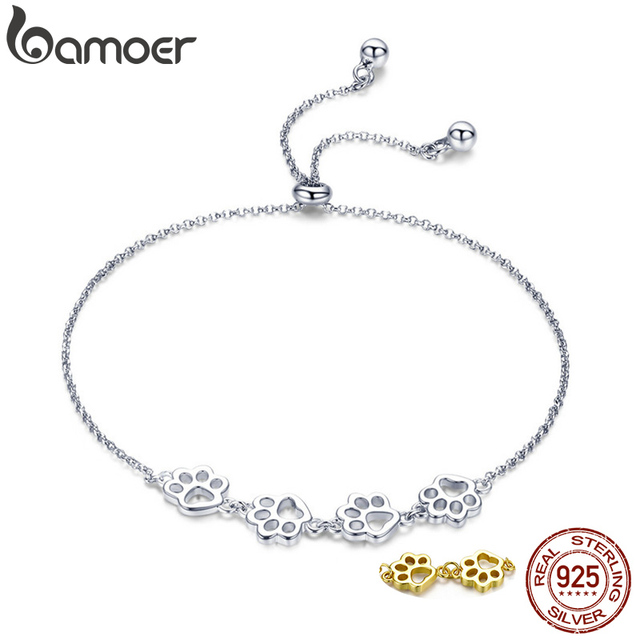 BAMOER New Arrival Genuine 925 Sterling Silver Animal Footprints Chain Bracelets