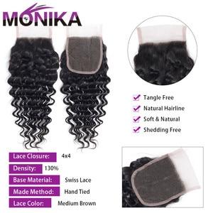 Image 2 - Monika saç brezilyalı kapatma derin dalga İnsan saç kapatma İsviçre dantel 4x4 kapatma saç olmayan Remy ücretsiz/Orta/üç bölüm kapanışları