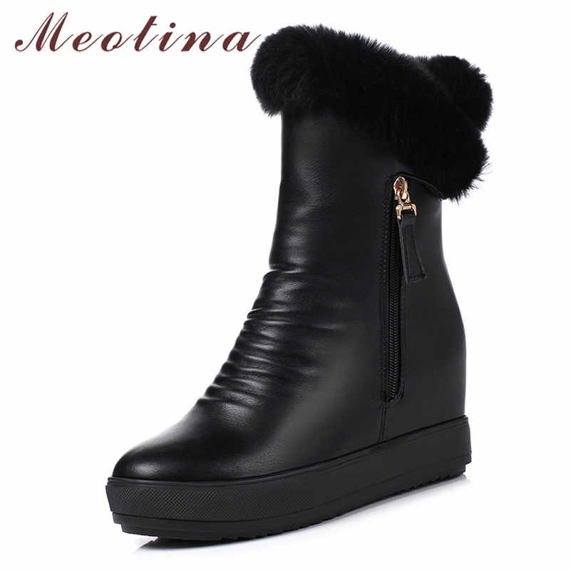 Meotina Winter Snow Boots Women Real Fur Zipper Height Increasing High Heel Ankle Boots Plush Pleated Round Toe Shoes Lady 34-39