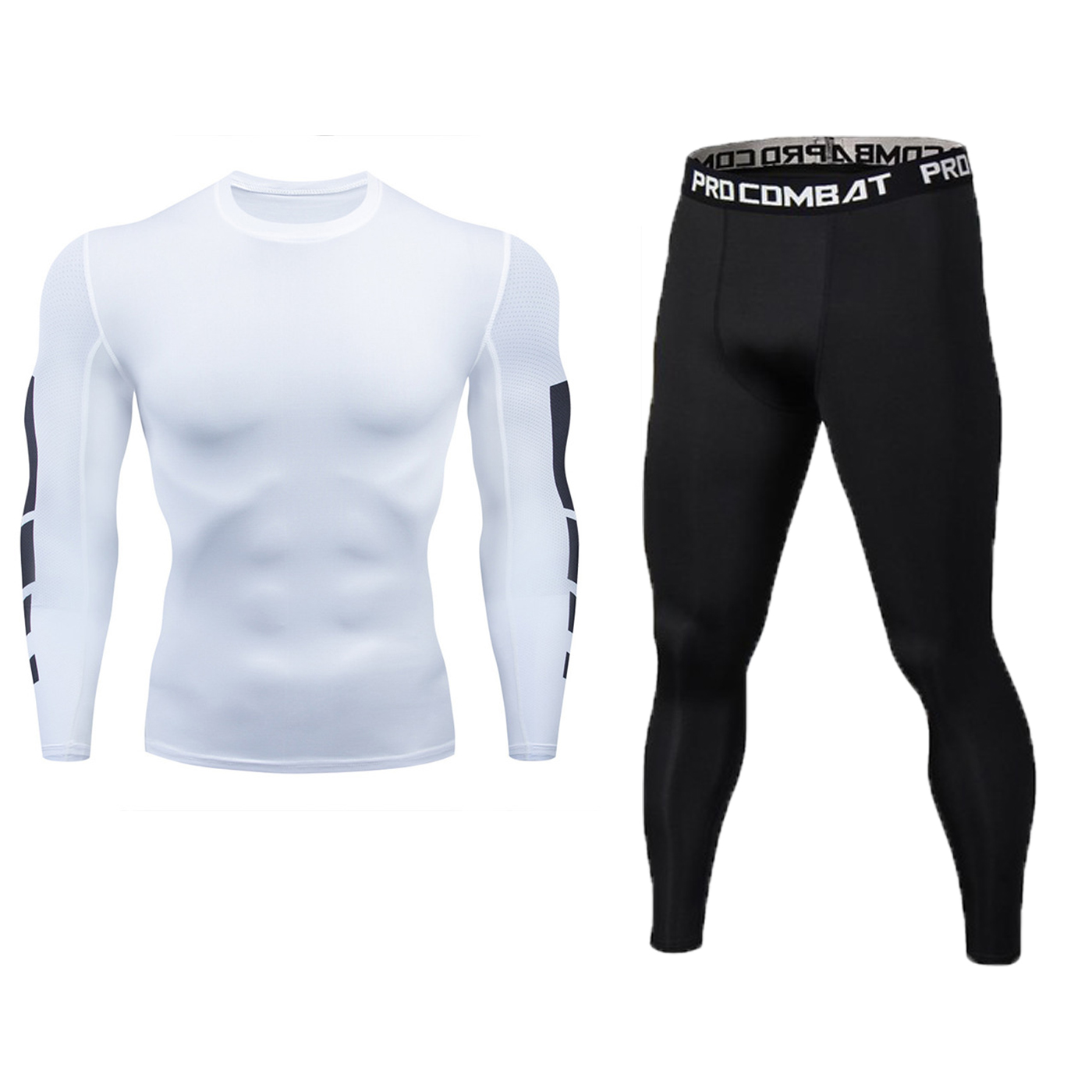 2 Pieces / Set Compression Men's Sports Suit Quick-drying Running Suit Long Sleeve Clothes Training Gym Fitness Sportswear Sport