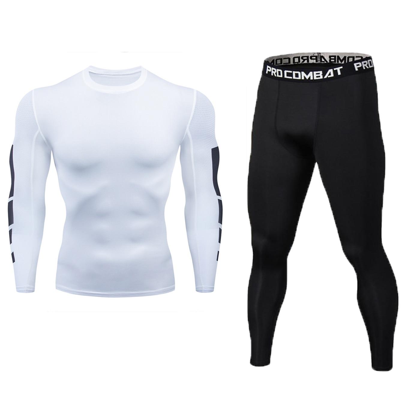 2 teile/los compression männer der sport anzug schnell trocknend läuft anzug lange hülse kleidung training gym fitness sportswear sport
