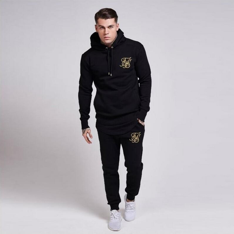 2019 Men's Fashion Brand Sportswear Suit, Gyms Casual Sports Cotton Clothing, Sik Silk Embroidery Clothing Jogger Suit