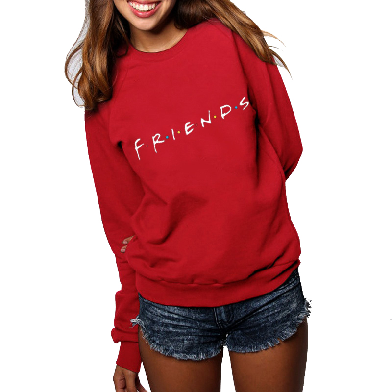 Vintage Letter Print Long Sleeve FRIENDS TV Casual Women's Sweatshirts Winter FRIENDS Print Loose Hoodies Fashion Womens Shirts
