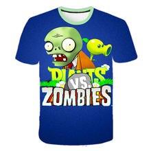 T-shirt garçon, vêtement d'été avec des plantes mignonnes contre la série de guerre des Zombies, dessin animé, T-shirt adolescent hauts pour filles
