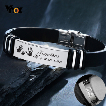 Vnox 12mm Customized Stainless Steel ID Bracelets for Men Casual Soft Rubber Silicone Basic Bangle Personalized Unique Gift vnox customize name quotes leather bracelets for men glossy stainless steel layered braided bangle personalized dad husband gift