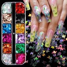 Блестки для ногтей с бабочками разных размеров, серебристые звездочки, цветные круглые Ромбы, украшения для ногтей с блестками